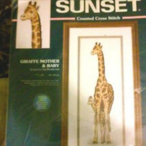 "SUNSET Counted Cross stitch ""Giraffe Mother & Baby"